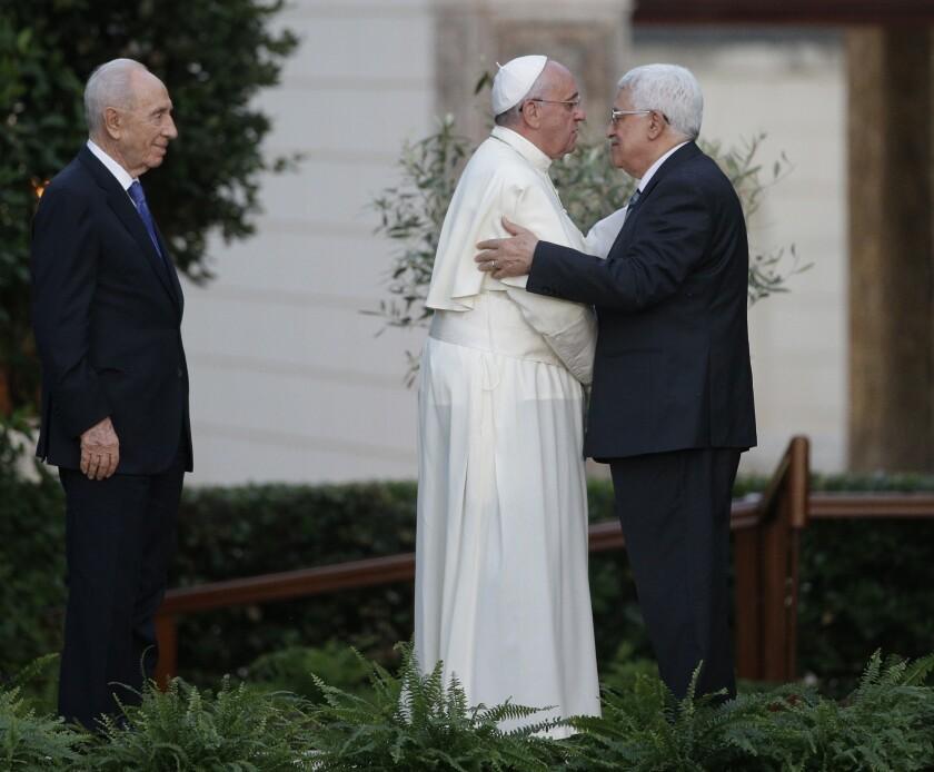 Pope Francis, Palestinian Authority President Mahmoud Abbas and Israeli President Shimon Peres