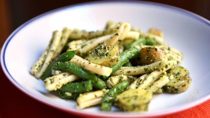 Strozzapreti with pesto, green beans, and potatoes.