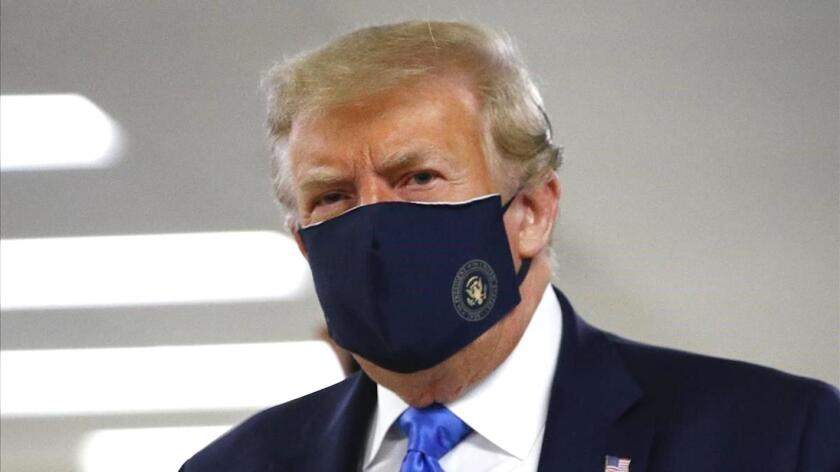 President Trump in a mask