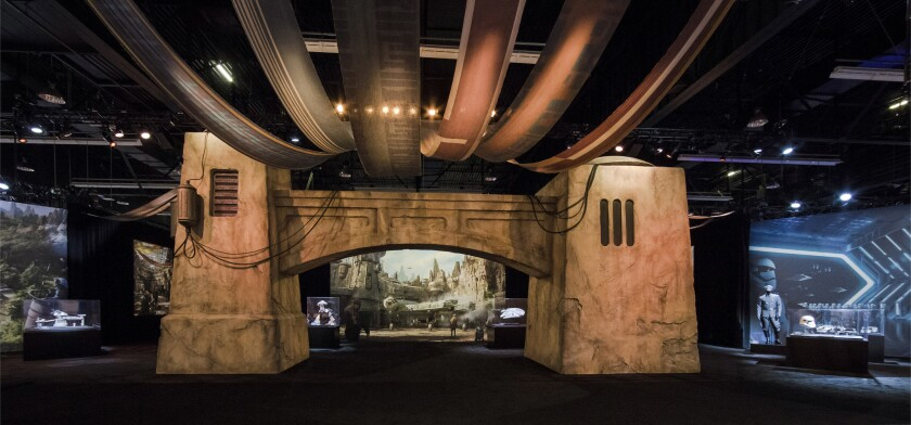 """Detailed models of the """"Star Wars""""-themed lands under development at Disneyland in Anaheim and Disney's Hollywood Studios in Orlando, Fla., were unveiled July 14 at the D23 Expo in Anaheim."""
