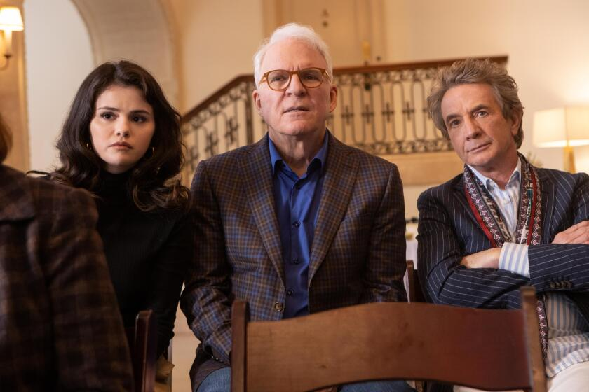 """A scene from """"Only Murders In The Building,"""" starring (from left) Selena Gomez, Martin Short and Steve Martin"""
