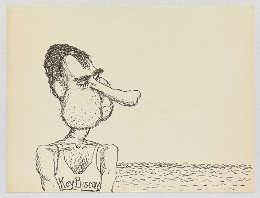 """Philip Guston, """"Untitled,"""" The Nixon Series, 1971, ink on paper."""