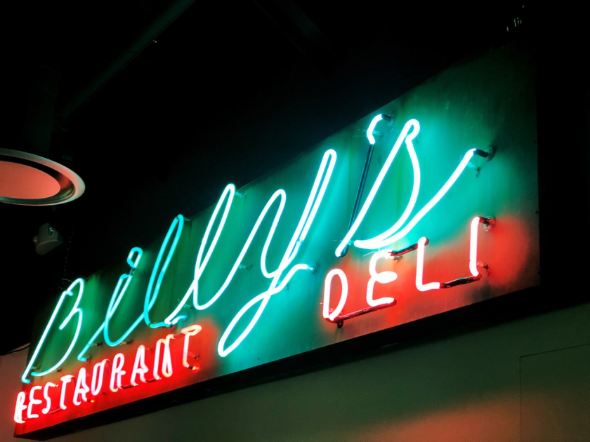 Beginning in 1948, Billy's Restaurant Deli was the place to get a plate of corned beef or a pastrami Reuben sandwich in Glendale. The classic deli illuminated the city with a straightforward, visually simple neon sign.