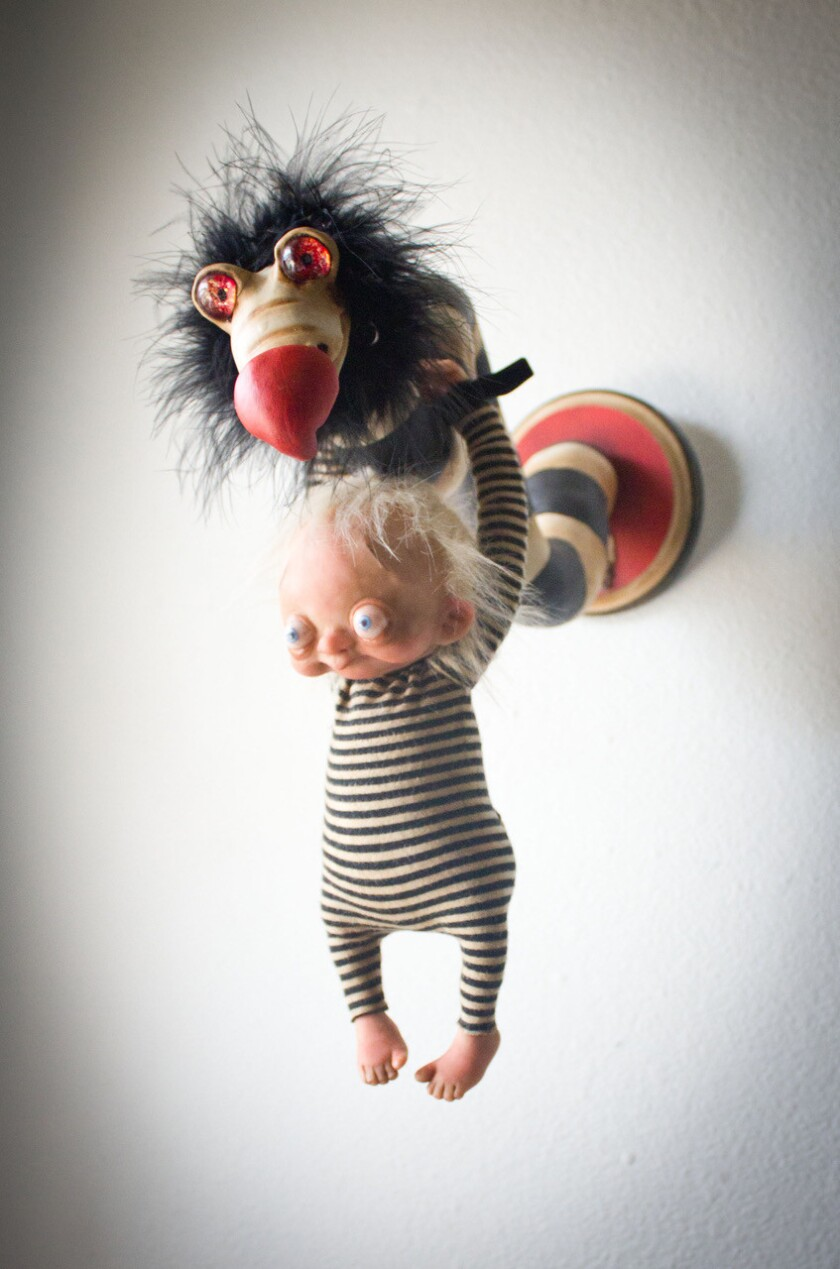 """Artwork from Denise Bledsoe, part of """"Comfort Creatures"""" at Disctinction Gallery in Escondido."""