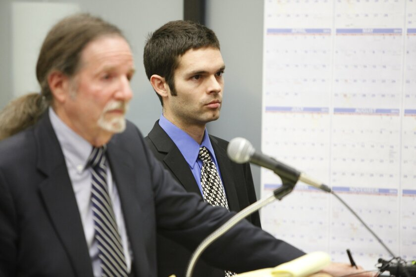 Kevin Bollaert (right) appeared in court along with his previous attorney Alex Landon (left) for a hearing in San Diego Superior Court.