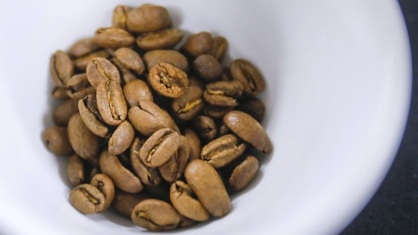 SAN DIEGO, CA 3/9/2019: Cuicateco coffee beans for guests attending the cupping event at Bird Rock