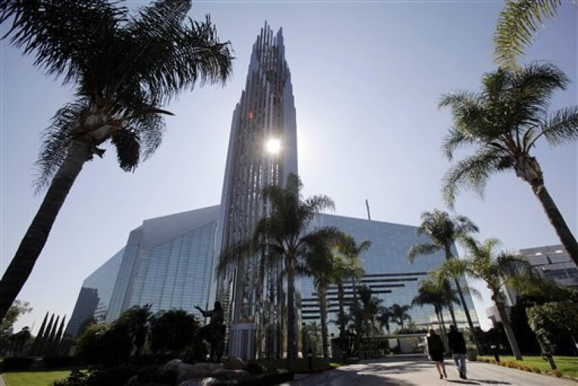 """This Oct. 27, 2011 photo shows the Crystal Cathedral in Garden Grove, Calif.  As the ministry famous for its """"Hour of Power"""" television program muddles through bankruptcy, churchgoers face the possibility of seeing the property sold to the Roman Catholic Diocese of Orange and being forced to move t"""