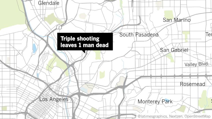 Three men were shot, one fatally, early Saturday morning near East Avenue 42 and Figueroa Street in Highland Park.