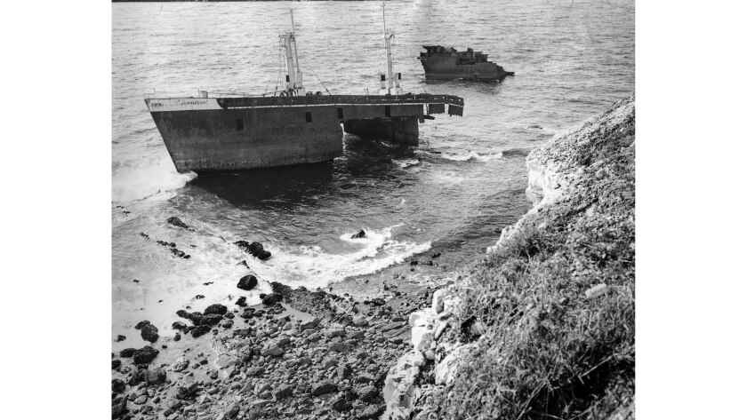 May 21, 1963: Remains of the grounded Greek freighter Dominator off Palos Verdes Estates. This photo
