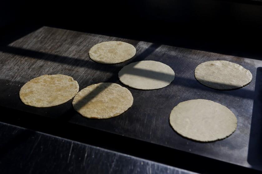 Hand-made tortillas cooking in the kitchen at Salazar restaurant.