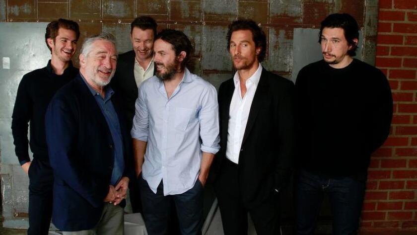 The Envelope's roundtable discussion involved Andrew Garfield, left, Robert De Niro, Joel Edgerton, Casey Affleck, Matthew McConaughey and Adam Driver.