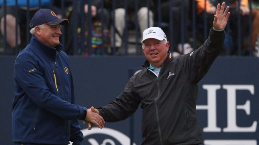 Mark O'Meara waves before he walks onto the first tee prior to hitting the opening shot of the Champ