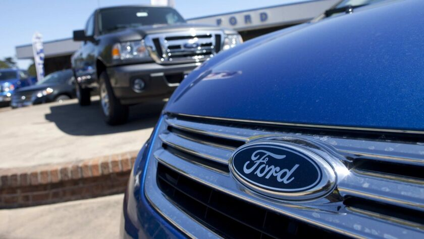 The Serramonte Ford dealership in Colma, Calif. In the first half of 2018, new light truck sales exceeded car registrations in California, 54.1% to 45.9%.