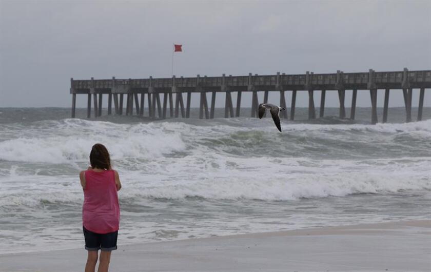 Una mujer fue registrada frente a una playa en Pensacola (Florida, EE.UU.), donde ya se sienten los efectos por la llegada del huracán Michael. EFE