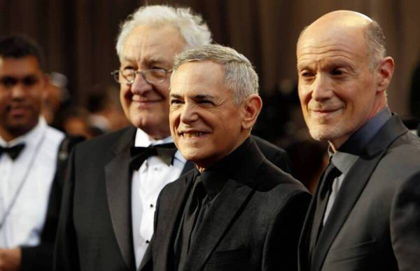 Oscar telecast producers Neil Meron, right, and Craig Zadan, center, with Don Mischer.