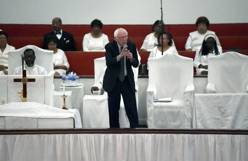 Democratic presidential hopeful Bernie Sanders speaks to a congregation at Reid Chapel AME Church on Sunday, Dec. 1, 2019, in Columbia, S.C. (AP Photo/Meg Kinnard)