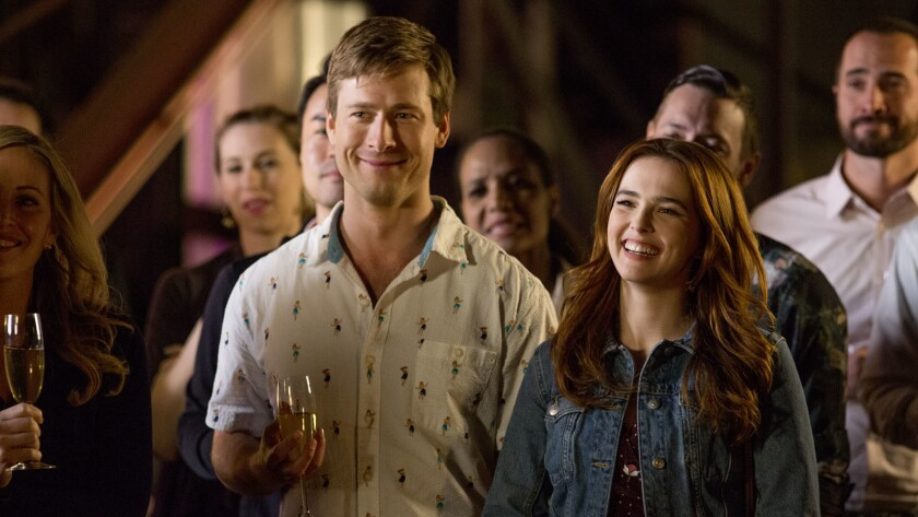 """(L-R) - Glen Powell and Zoey Deutch in a scene from """"Set It Up."""" Credit: KC Baily/Netflix"""