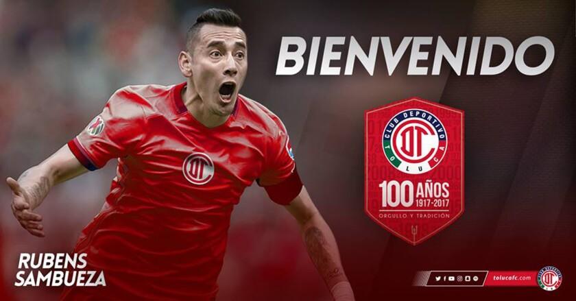 El Toluca anunció así el fichaje del argentino Rubens Sambueza.