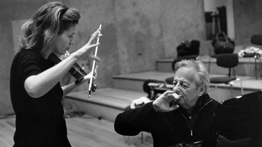 Anne-Sophie Mutter and Andre Previn, 2003. Photo Credit: Lillian Birnbaum / Deutsche Grammophon.