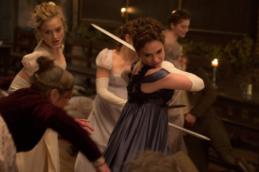 """Bella Heathcote, left, and Lily James in """"Pride and Prejudice and Zombies."""""""