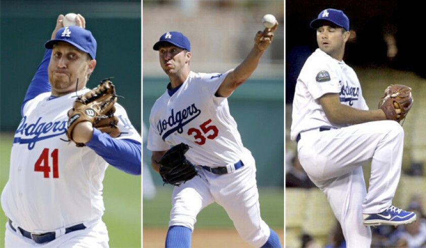 Dodgers pitchers Aaron Harang, Chris Capuano and Ted Lilly could probably make any other team's rotation, but in L.A. they've been in limbo.