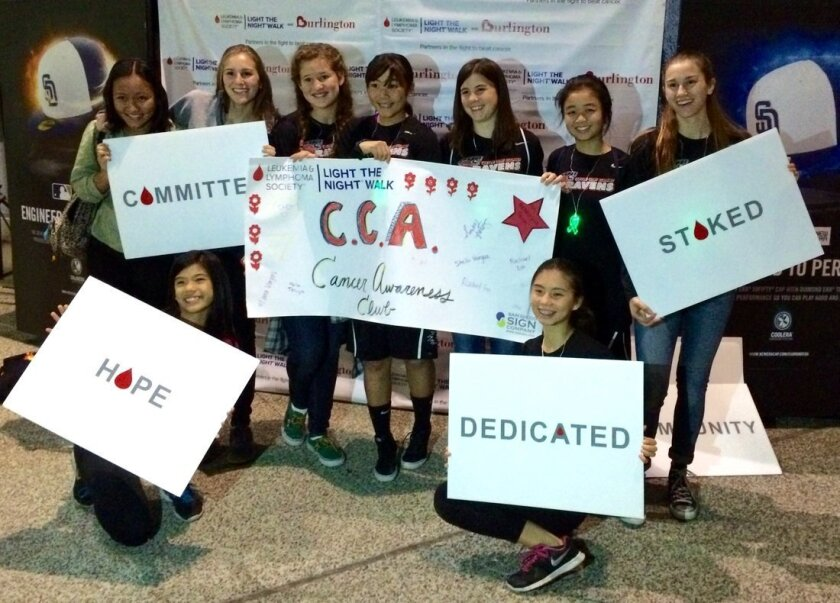 The CCA Cancer Awareness Club, which is hosting a May 31 walk at CCA, participated in the Light the Night Walk in San Diego last year. Courtesy photo