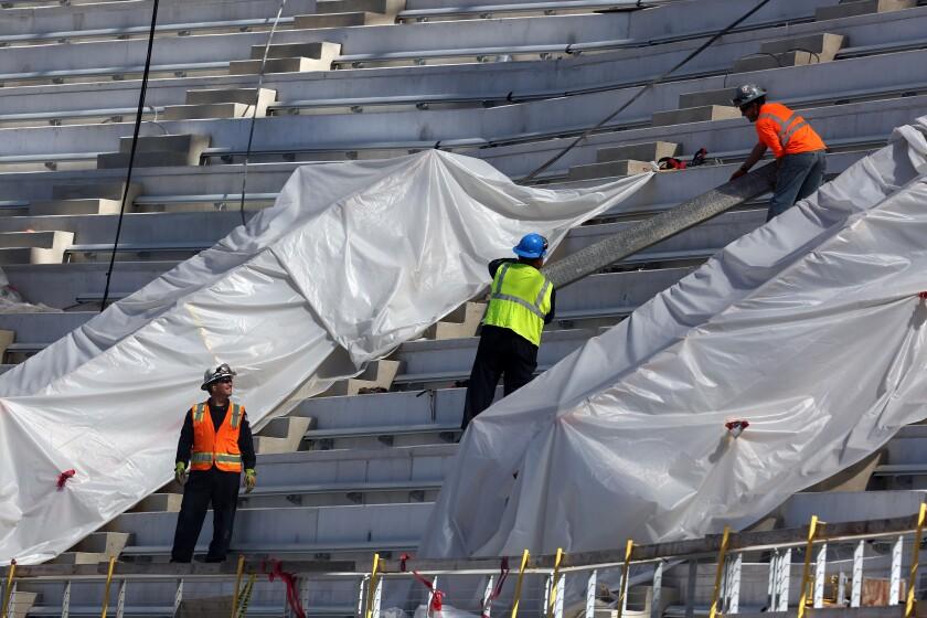 Construction continues at SoFi Stadium in Inglewood.