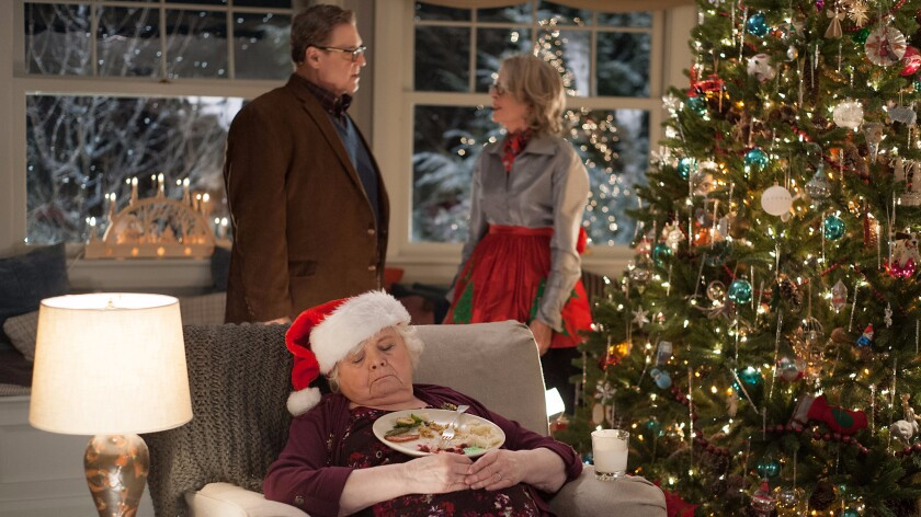 "June Squibb, front, and John Goodman and Diane Keaton in the movie ""Love the Coopers."""