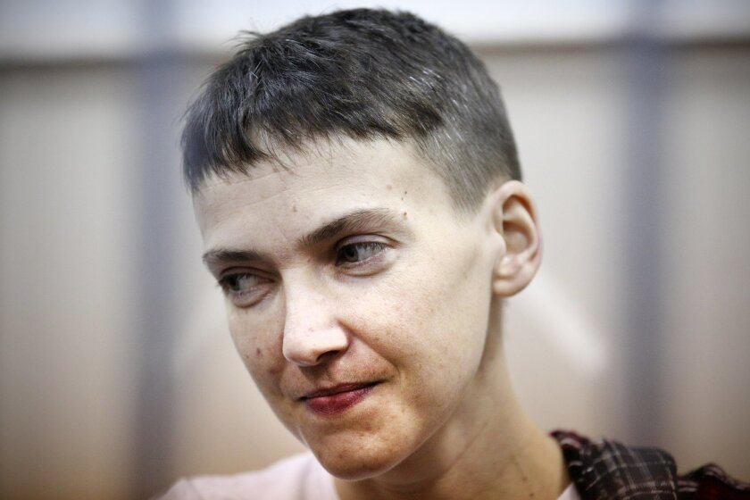 FILE - In this March 26, 2015, file photo, Ukrainian jailed military officer Nadezhda Savchenko attends a court hearing in Moscow. Maria Shavchenko, the mother of a Ukrainian helicopter pilot imprisoned in Russia is on a global campaign seeking support from world leaders to pressure President Vladi