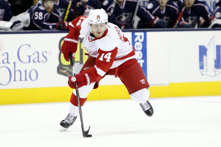 FILE - In this March 17, 2016, file photo, Detroit Red Wings' Gustav Nyquist, of Sweden, plays against the Columbus Blue Jackets during an NHL hockey game in Columbus, Ohio. A few days after Kentucky Derby winner Nyquist was declared out of the Belmont Stakes due to a fever, Red Wings forward Nyqui
