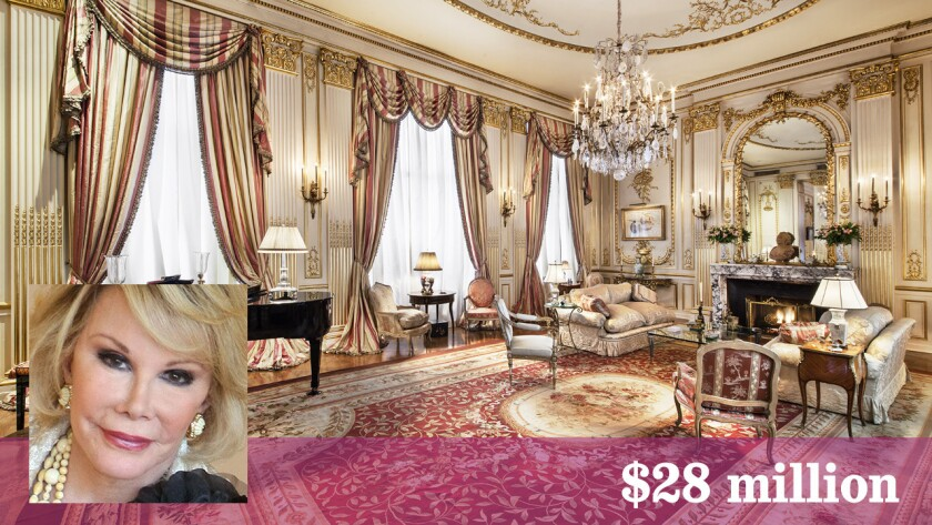 Joan Rivers' former Manhattan penthouse occupies the top three floors of a turn-of-the-19th-century Gilded Age building.