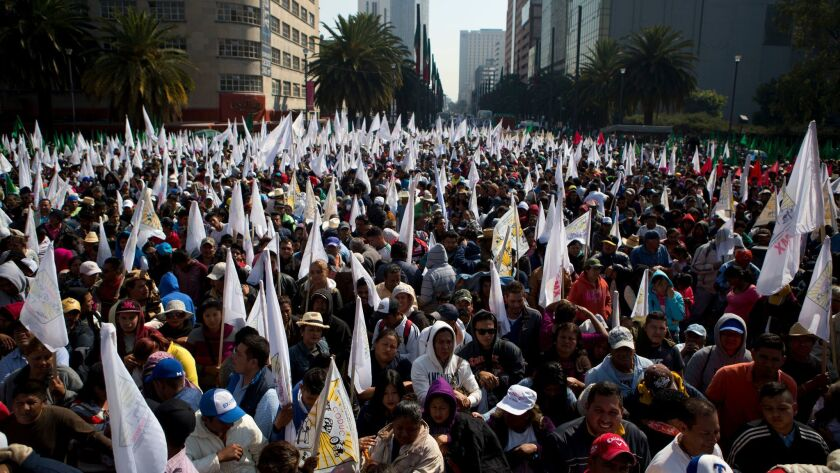 Thousands of rural residents from across Mexico flooded major boulevards of Mexico City in January to protest a gasoline price hike.