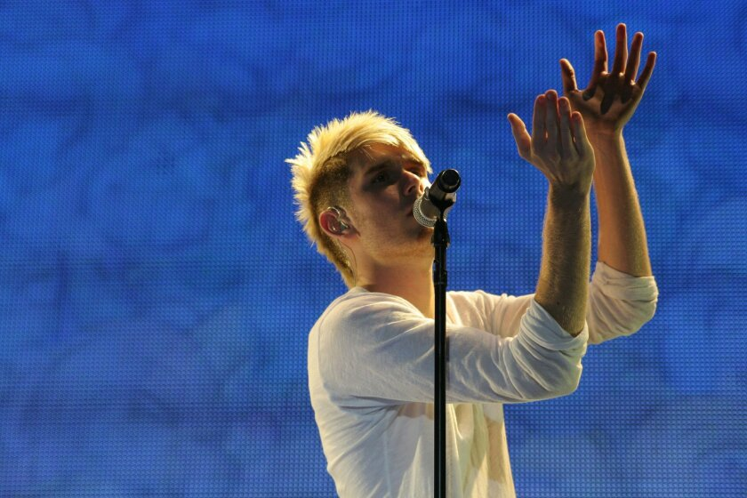 Colton Dixon performing during this summer's American Idol Tour in Ontario, Ca.