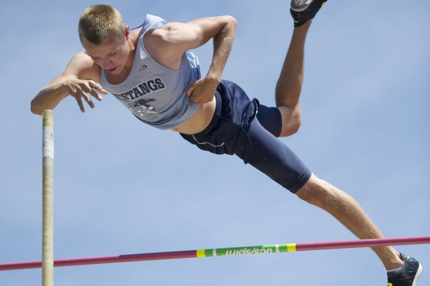 Xander Law of Otay Ranch leads the San Diego Section with a pole vault of 15 feet, 9 inches.