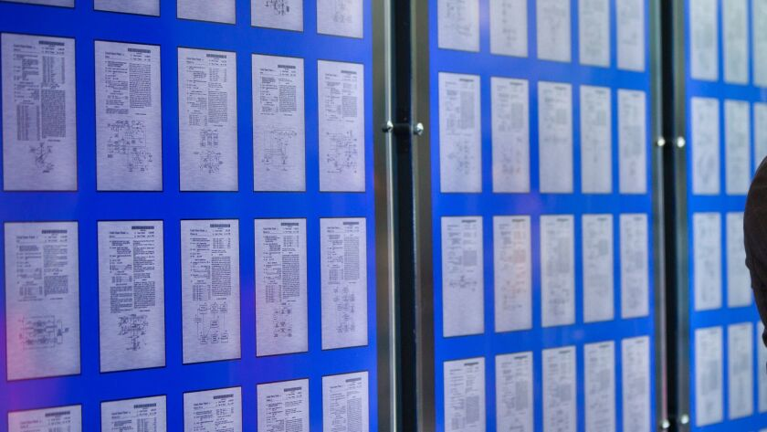 Some of Qualcomm's patents on display at its headquarters.