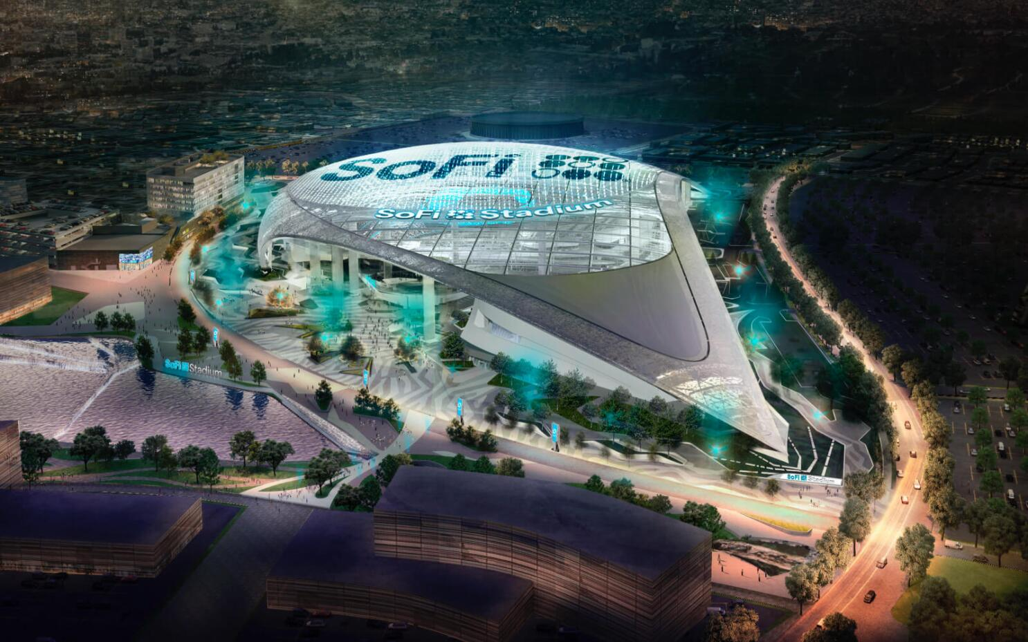 rams and chargers future home now has a name sofi stadium los angeles times sofi stadium los angeles times