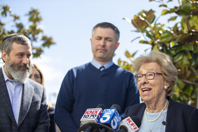 Photo Gallery: Eva Schloss, 89, a Holocaust survivor and Anne Frank's stepsister speaks with students at Newport Harbor High School