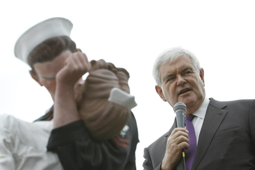 Former Republican House Speaker Newt Gingrich, with his organization called American Solutions, spoke at a Tea Party Express rally at Tuna Harbor Park in downtown San Diego on Thursday, Oct. 21, 2010.