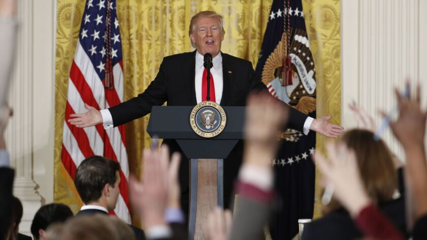 President Donald Trump speaks during a news conference in Washington on Feb. 16, 2017.