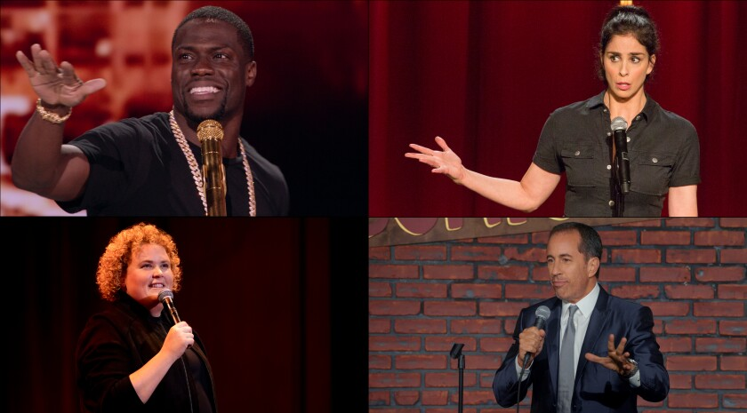 Clockwise from top left: Kevin Hart, Sarah Silverman, Jerry Seinfeld and Fortune Feimster.