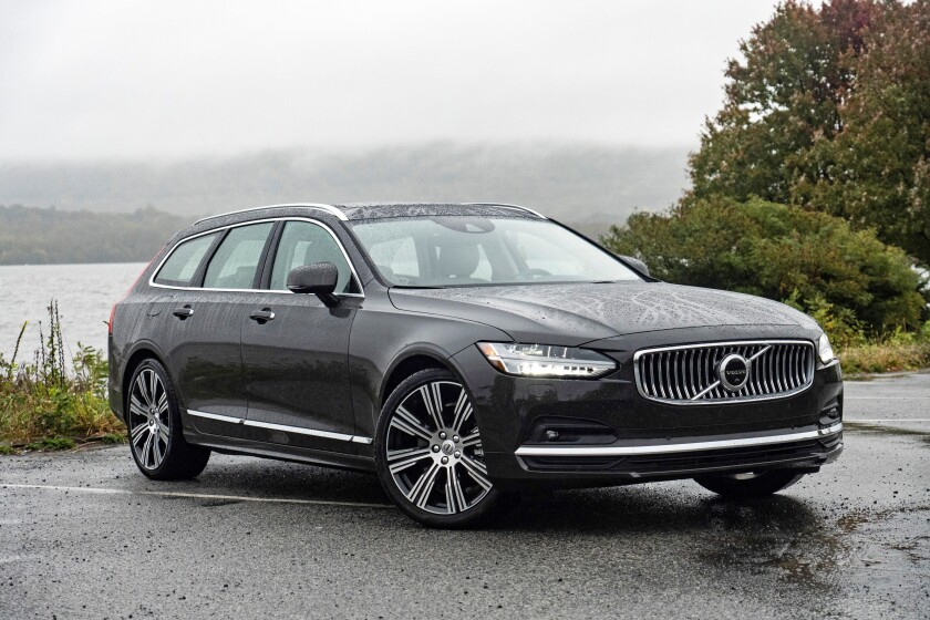 This photo provided by Volvo shows the 2021 Volvo V90 T6. With the T6 engine specification, the V90 comes with all-wheel drive and additional horsepower over the standard T5 configuration. (Courtesy of Volvo Cars USA via AP)