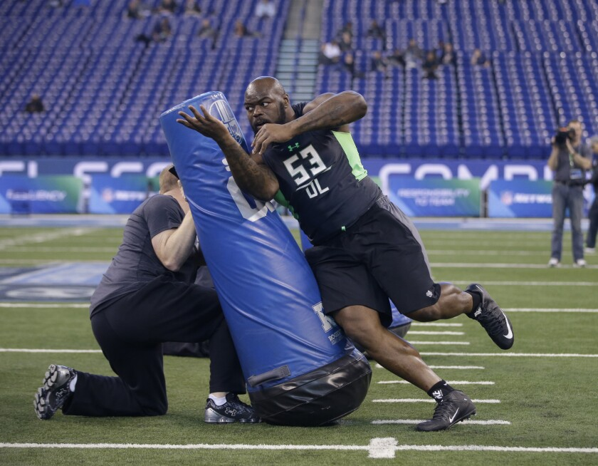 Defensive lineman A'Shawn Robinson at the 2016 NFL combine.