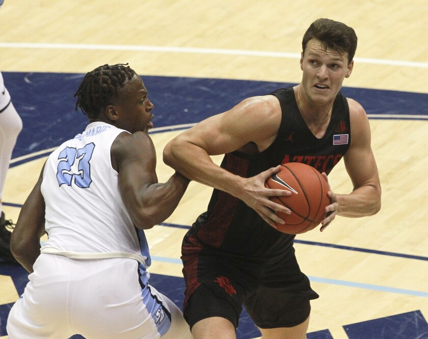 Yanni Wetzell (right) led SDSU to a 66-49 win at USD last season, but the teams don't have each other on the schedule for 2020-21.