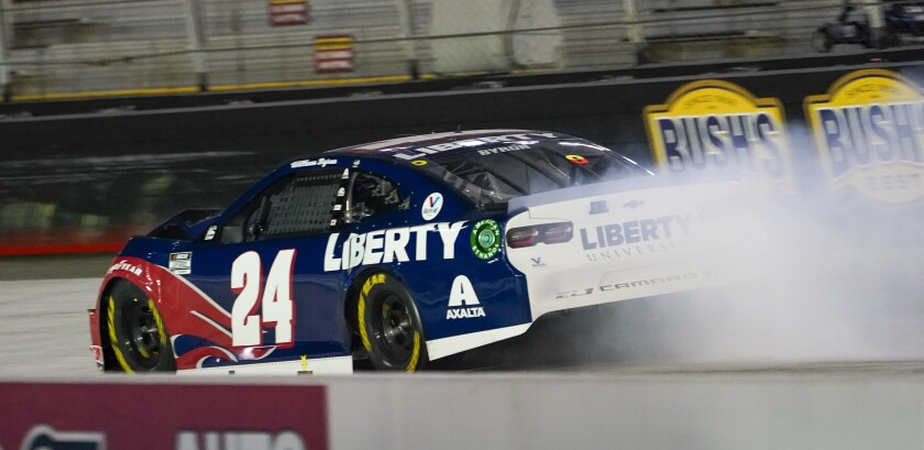 William Byron's car leaves a trail of smoke after an accident during the NASCAR Cup Series auto race Saturday, Sept. 19, 2020, in Bristol, Tenn. (AP Photo/Steve Helber)