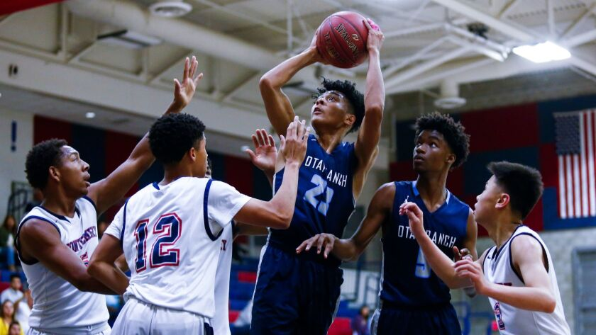 Otay Ranch's Tariq Deadmon, who scored 26 points, takes a shot against Montgomery on Friday night.