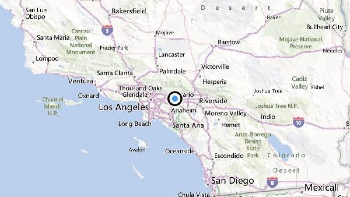 san dimas california map Earthquake 2 6 Quake Strikes Near San Dimas Los Angeles Times