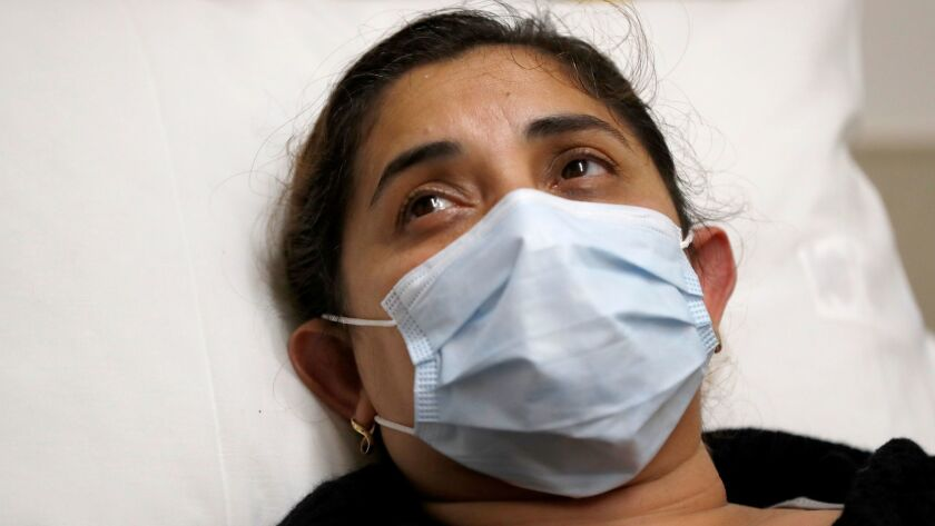 ORANGE, CALIF. -- FRIDAY, JANUARY 5, 2018: Adriana Gudinoperez, of Garden Grove, a patient with flu