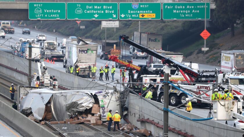 Overturned FedEx truck blocks Metro Gold Line tracks in