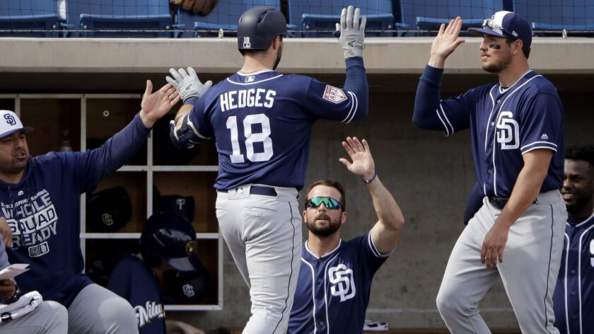 Austin Hedges is congratulated after a home run earlier this spring against the Brewers. He hit two more on Wednesday against the Angels.