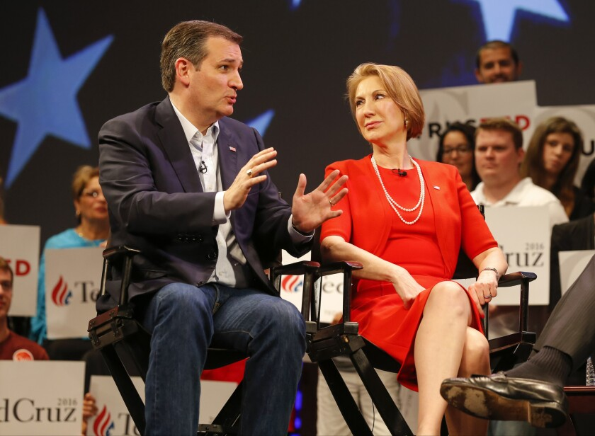 Republican presidential candidate Ted Cruz appears with Carly Fiorina in Orlando, Fla., in March.